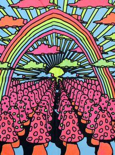☮ American Hippie Art ~ Vintage Mushroom Psychedelic Trippy Black Light Poster