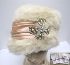 1950s cream fur Schiaparelli hat