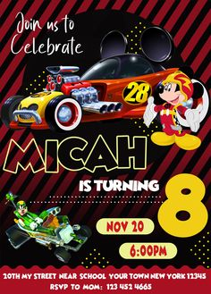 #birthdayinvitation #BIRTHDAYINVITE #BIRTHDAYPARTY #birthdayprintable #BoyBirthday #mickey #mickeyandtheroadsterracers #mickeymouse #mickeymousebirthday #mickeymouseinvite #mickeymouseparty #mickeymouseprintable #PARTY #RoadsterRacers #RoadsterRacersInvitation #RoadsterRacersInvite