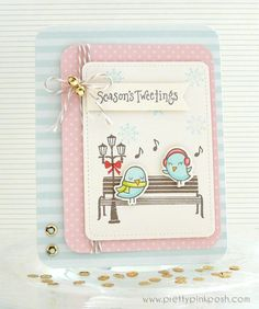 Lawn Fawn lovely sweet pastel Winter Sparrows by Paulina