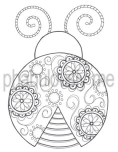 "Coloring Page Digital Download Hand Drawn Ink Doodle Art - ""Flower Ladybug"".  via Etsy."