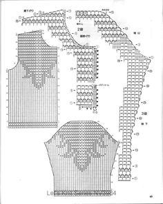 ru / Photo # 1 - Fillet knitting 1 - g-lida Filet Crochet, T-shirt Au Crochet, Crochet Bolero, Crochet Stitches Chart, Pull Crochet, Crochet Motifs, Crochet Shirt, Crochet Jacket, Crochet Diagram