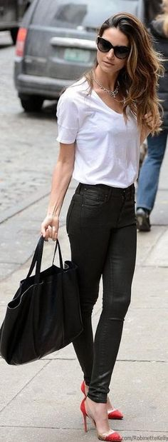 Black and White Street Style - Same black leather leggins and a simple white t-shirt will highlight orange/red/yellow/neon pumps. by angeline