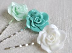 Floral bobby pin hair accessory. Set of 3 Rose hair pins in colors pictured (eggshell white, turqouise, light mint green). Style no. 11