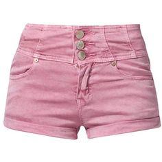Glamorous Denim shorts ($34) ❤ liked on Polyvore featuring shorts, bottoms, short, pants, pink, denim shorts, women's trousers, pink denim shorts, jean shorts and pink shorts