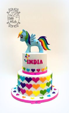 Rainbow Dash Cake from My Little pony and rainbow hearts