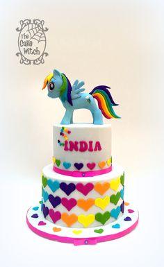 Rainbow Dash Cake from My Little pony and rainbow hearts                                                                                                                                                                                 Más