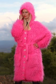 New Hand Knitted Mohair Coat Pink Cardigan Handgestrickte Weste by SUPERTANYA