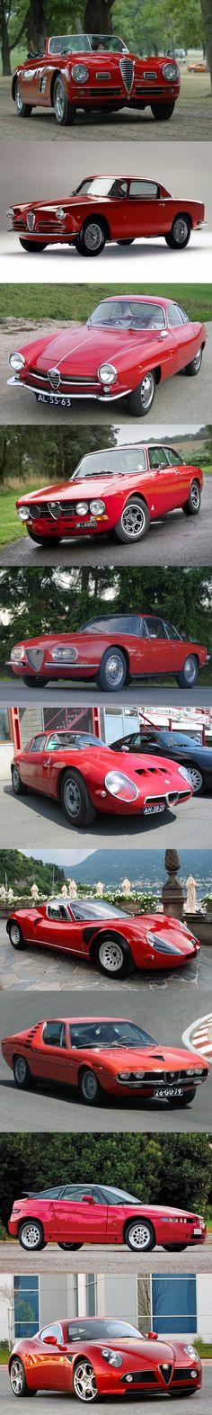 Alfa Romeo - supercar / 1949 6C 2500 / 1950 1900 Sprint / 1959 Giulietta SS / 1960 2000 Sprint / 1961 2600 Sprint Zagato / 1963 Giulia TZ / 1967 33 Stradale / 1970 Montreal / 1989 SZ / 2007 8C Competizione / red / Italy / #list