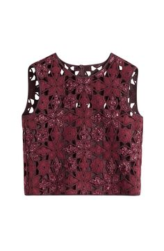 Alberta Ferretti's deep merlot cropped top is made with a crochet knit and finished with an intricate floral design. Shimmering texture adds glamour #Stylebop