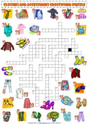 Clothes and Accessories Crossword Puzzle ESL Worksheet