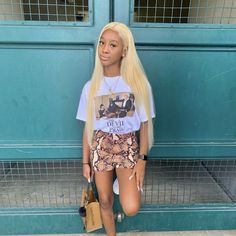 Nov 2019 - White graphic tee and snake print kini bodycon fitted Cute Swag Outfits, Girly Outfits, Dope Outfits, Chic Outfits, Pretty Outfits, Summer Outfits, Fashion Outfits, Skirt Outfits, School Outfits