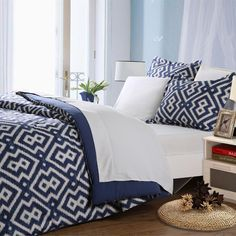 Bring style and comfort into your bedroom with this super soft microfiber bed-in-a-bag from Affluence Home Fashions. This elegant set features a geometric design in white on a blue background. It is crafted of quality microfiber and polyester.