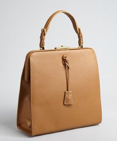 Prada caramel saffiano leather framed top handle bag | BLUEFLY up to 70% off designer brands. http://getth.at/bdkow #bags #prada #tote