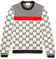 Gucci Cotton-jacquard Sweater In White Mens Cotton Sweaters, Mens Fashion Sweaters, Crewneck Sweaters, Fashion Shirts, Mens Striped Sweater, Men Sweater, Camisa Gucci, Gucci Jeans, Gucci Gucci