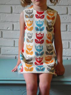 ingrid dress. outside oslo tulips. retro 1970. mod vintage inspired style. handmade by little ticket on etsy.