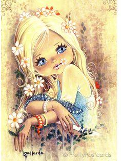 Big Eyed Girl Vintage 70s postcard
