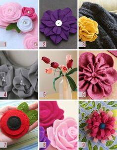 DIY for 9 felt flowers.: