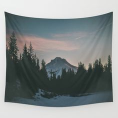 Frozen Mirror Lake Wall Tapestry. #photography #digital #color #landscape #nature #mount-hood #sunrise #winter #snow #oregon #pnw #pacific-northwest #frozen-lake