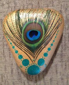 Painted rock, painted stone, stone painting, rock painting. Rock art, Stone art. Peacock feather