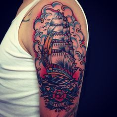 Clipper Ship - CHRISTIAN OTTO | EXPERT TATTOOER at BURNOUT INK. Palma de Mallorca's Finest Tattoo Parlour (Spain)