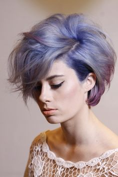 Short messy hairstyle in purple/lilac and lavender pastels.