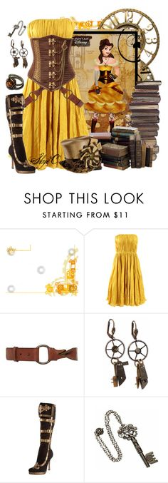 """""""Belle - Steampunk - Disney's Beauty and the Beast"""" by rubytyra ❤ liked on Polyvore featuring Oscar de la Renta, Linea Weekend, Pieces, Leg Avenue, Elope, disney, steampunk and BeautyandtheBeast"""