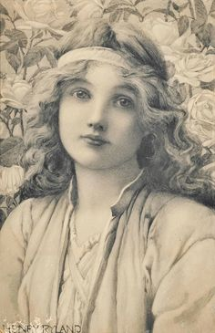 Henry Ryland, R.I. (1856-1924) The rose maiden