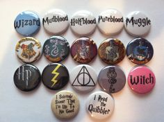 This listing is for 6 Harry Potter themed magnets! Each is 1 inch and coated with a thin sheet of shiny mylar for durability! There are 14 magnets