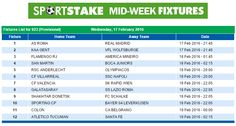#SportStake Midweek Fixtures - 17 February 2015