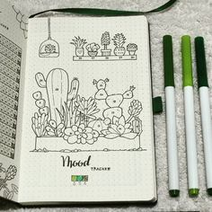 Including hand-drawn cacti and succulents in your bullet journal is popular in the bujo community. I have 25 cactus and succulent ideas to share. - 25 Cactus and Succulent Ideas for Your Bullet Journal Bullet Journal Mood Tracker Ideas, Bullet Journal Notebook, Bullet Journals, Art Journals, Cactus Drawing, Bullet Journal Aesthetic, Pretty And Cute, Journal Inspiration, Journal Ideas