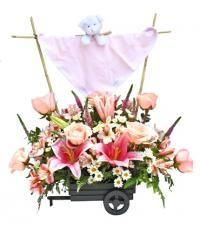 Ternura Niña: Delicada Mantita acompañasueño Bebé con peluche, en carreta llena de rosas, alstroemerias, margaritas, lilium y verónicas con follaje. Pide este arreglo en florería pétalos y hojas y  te lo enviamos a domicilio a todo Lima