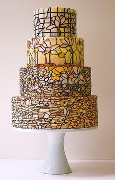 Tiffany lamp style - mustard hand painted wedding cake www. Pretty Cakes, Beautiful Cakes, Amazing Cakes, Painted Wedding Cake, Cool Wedding Cakes, Food Design, Nail Design, Design Ideas, Glass Design