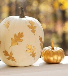 Gold Leaves on White Pumpkins autumn gold leaves fall paint pumpkin pumpkin decorating fall decorating