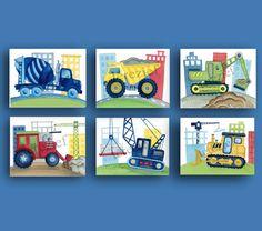 Construction trucks art print set for children, boys room or nursery Busy Builder art prints  SET OF SIX 8X10 GICLEE PRINTS (20.3cmX25.4cm)  FRAMES ARE
