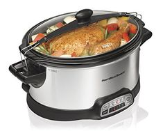 Hamilton Beach Programmable Slow Cooker, 6-Quart with Clip-Tight Sealed Lid, Stainless Steel (33466) – KITCHEN APPLIANCES