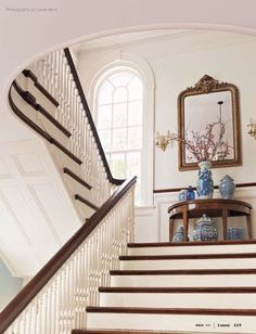 Building a blue and white collection.and a blue and white giveaway! - The Enchanted Home-like the stairs esp. Staircase Landing, Stair Landing Decor, White Staircase, Wood Staircase, Wooden Stairs, Grand Staircase, Balustrades, Interior And Exterior, Interior Design