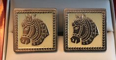 Vintage Swank Christmas Collection Carousel Horse Cufflinks by CremedelaCuff on Etsy