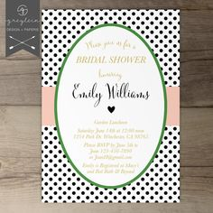 Kate Spade inspired bridal shower invitations • Black White Gold Green Bridal Shower Invitations / Stripes • polka dots • hearts / pink peach coral / DIY Printable / by greylein