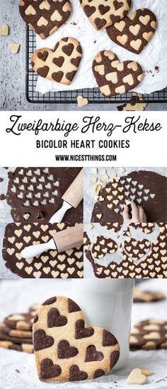 Zweifarbige Herz Kekse Rezept, Bicolor Heart Cookies