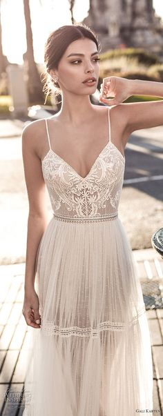 I want a boho wedding 😍 : gali karten 2017 bridal spaghetti strap sweetheart neckline heavily embellished bodice sexy romantic soft a line wedding dress open scoop back sweep train zv -- Gali Karten 2017 Wedding Dresses 2017 Bridal, Bridal Gowns, Wedding Gowns, 2017 Wedding, Spring Wedding, Trendy Wedding, Wedding Simple, Wedding Bridesmaids, Elegant Wedding