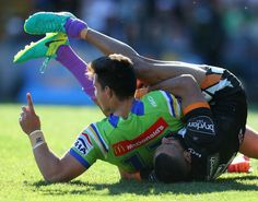 Joseph Tapine of the Raiders scores a try during the round 26 NRL match between…