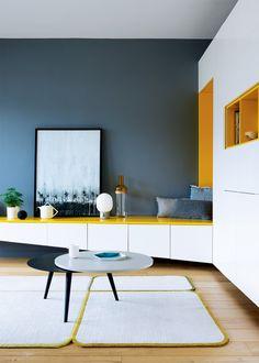 Un module de rangement blanc et jaune - Marie Claire Maison