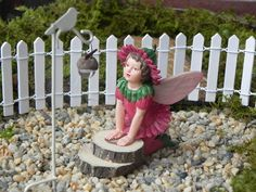"2.75"" Fairy Accessory for miniature or fairy garden with wood slice steps - Cicely Mary Barker Fairy Double Daisy - accessories - terrarium"
