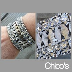 Chico's Cuff Bracelet Worn less than 5 times. I've so many bracelets, I don't wear this one anymore and it's a shame because it's beautiful. In excellent shape with all crystals intact, regular weight. Fits normal wrist. Stretch design. No flaws.  NO TRADES/NO PAYPAL. Reasonable offers accepted via the offer button below. Chico's Jewelry Bracelets