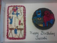 Gymnastic/ batman & superman cake by younique taste