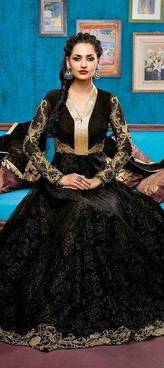 418880, Anarkali Suits, Net, Cut Dana, Resham, Moti, Stone, Lace, Bugle Beads, Black and Grey Color Family
