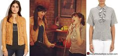 """Buy Hannah Simone's Camel Leather Jacket and Zooey Deschanel's Grey Ruffle Detail Shirt from """"New Girl"""" here!"""