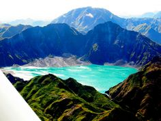 Lake in the Pinatubo Volcanic crater, Central Luzon, Philippines
