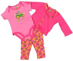 John Deere Newborn Hot Pink 3 Piece Layette Set Tractorup.com John Deere Baby, Farm Clothes, Hot Pink, Baby Kids, Onesies, Girl Outfits, Babyshower, 3 Piece, Future